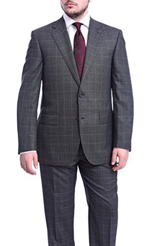 Napoli Classic Fit Charcoal Gray Plaid Two Button Half Canvassed Wool Suit