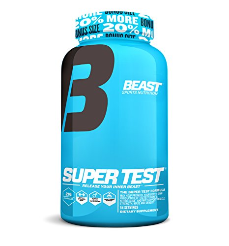 Super Test by Beast Sports - Professional Strength, Natural Testosterone Booster Supplement with Nitric Oxide Support for Maximum Muscle Mass, Stamina, Strength, and Recovery, Bonus Size, 216 Capsules -