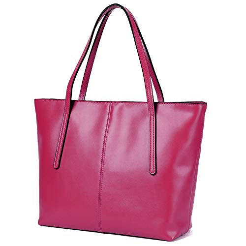 CHERRY CHICK Women's Everyday Tote Bags Large Leather Purse Soft Hot (Matt Pinkish Red-2152) ()