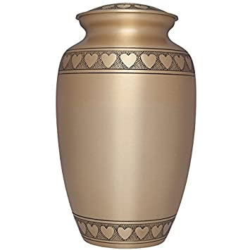 Liliane Memorials Gold Funeral Cremation Urn with Engraved Hearts Corazones Model in Brass for Human Ashes Suitable for Cemetery Burial Fits Remains of Adults up to 200 lbs, Large 200 lb,