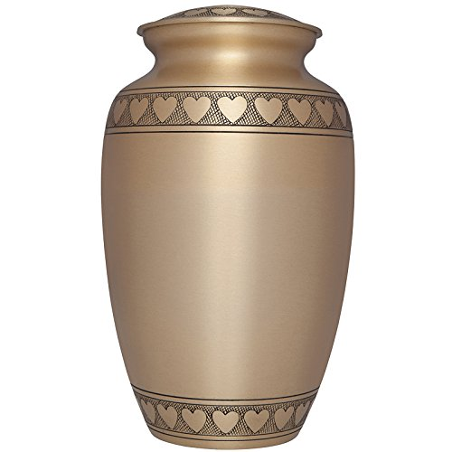 Liliane Memorials Gold Funeral Cremation Urn with Engraved Hearts Corazones Model in Brass for Human Ashes; Suitable for Cemetery Burial; Fits Remains of Adults up to 200 lbs, Large/200 lb,
