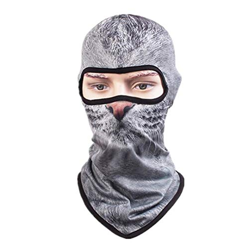 3D Cap Dog Animal Printed Halloween Horror Ski Mask Outdoor Bicycle Cycling Masks Hat Veil Balaclava UV Full Face Mask H307 Garfield One Size