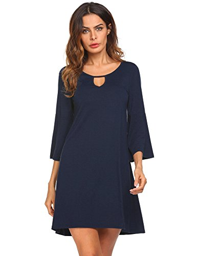 pasttry Casual Solid Fall Keyhole Front Long Sleeve Fit Flare Mini Dress
