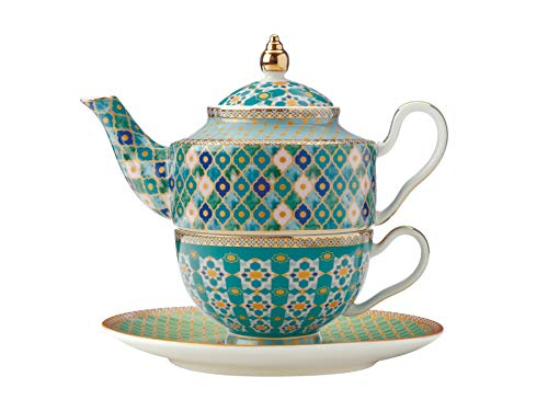 Maxwell & Williams Teas & C s Kasbah Tea For One - Juego de tetera y taza con infusor en caja de regalo, porcelana, verde menta, 380 ml