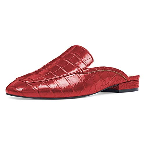 On Women Clogs Pointy Crocodile Slide Red YDN Loafers Flats Mules Low Heels Slipper Toe Grain Slip Shoes TFnBgqR