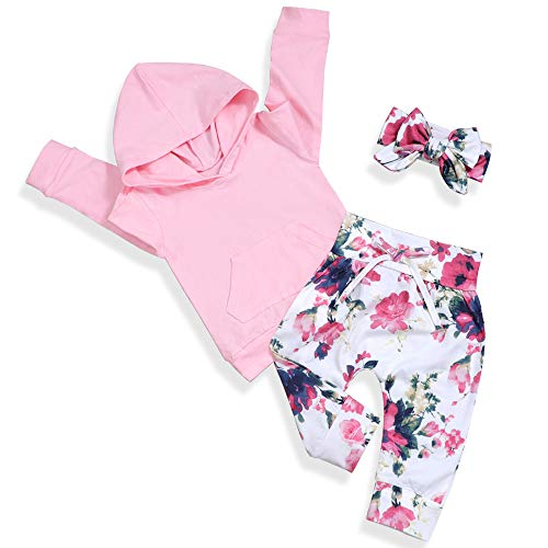 Baby 6 9 12 18 24 Months Girl Clothes Pink Hoodie Floral Pants with Headband for Newborn Infant Toddler 3Pcs Winter Outfit Sets 18-24 Months