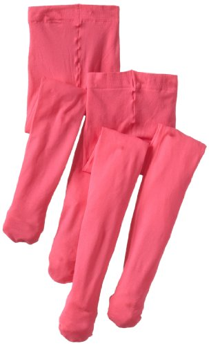 (Country Kids Little Girls'  Microfiber 3-D Opaque Tights 2 Pair, Hot Pink, 3-5 Years)