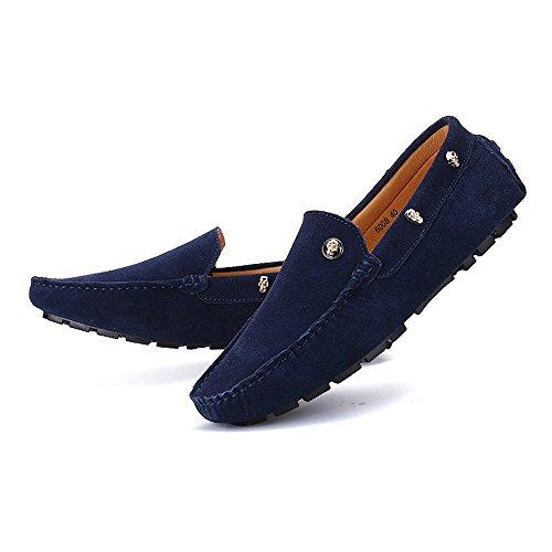 Planos de Armada de Negocios Mocasines 8 de Suela Moda Cuero Negro Slip tamaño on conducción Isbxn Zapatos MUS Hombres Zapatos Mocasines Color Decor de Mocasines de Suave Skull Genuino los Penny xTqSwaAY