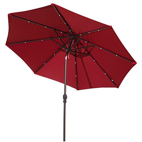 Aluminum Solar Powered 24 LED Light Patio Umbrella with Tilt and Crank, Dark Red ()