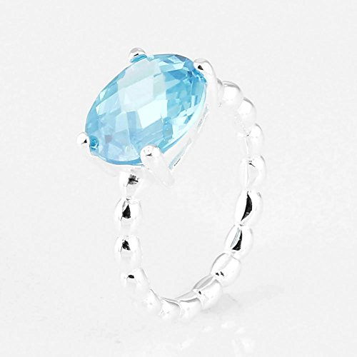 TAOTAOHAS Pure Solid Sterling 925 Silver Ring [Cool Breeze, Capri Blue] Best Sellers w Crystal
