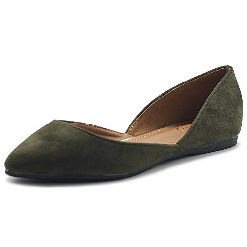 Ollio Womens Shoe Faux Suede Slip On Comfort Light Pointed Toe Ballet Flats ZM1710F (7 B(M) US, Olive)