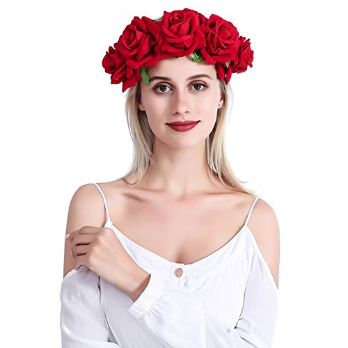 inSowni Handmade Rose Flower Wreath Crown Headband with Ribbon for Women Girls (Red)
