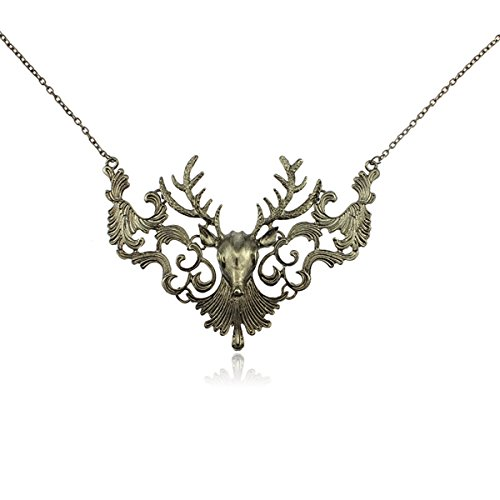 Exaggeration Retro Deer Wapiti Elk Pendant Necklace Christmas Holiday Jewelry