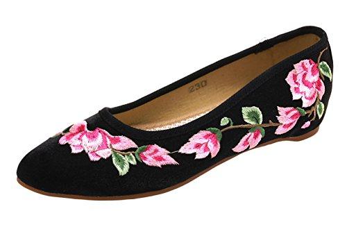 Hæl Leiligheter Sko Kvinner Studio Floral Kinesisk Håndlaget Sk Jane Blomst Vintreet Loafers Lav Broderi Svart Flat Kvinners Mary fR8wU6q