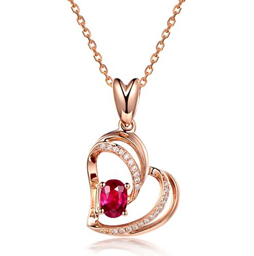 Jisela 925 Sterling Silver Love Heart Crystal Cubic Zirconia Pendant Necklace Valentine's Day Gift (Red)