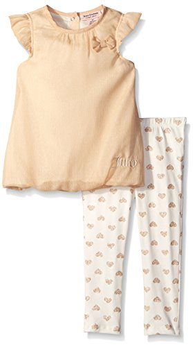 Juicy Couture Baby Girls' Shimmer Georgette Gold Top with Printed Leggings, Gold, 3-6 Months