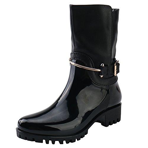 Heeled Alexis Strap Boots Black Stylish Zip Adjustable Side Women Rain Rubber Leroy Mid Calf New r7S6wxrzYq