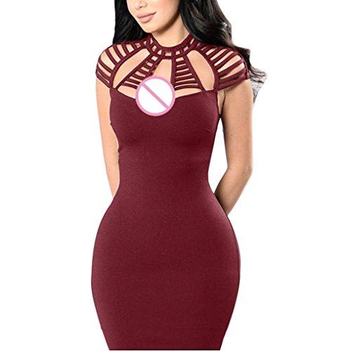 Vestiti Bodycon Vino Le da scavano corto mini da donna rosso il Clubwear donne sera vestito Vestito sexy Sysnant fuori CCqF5HrWnz