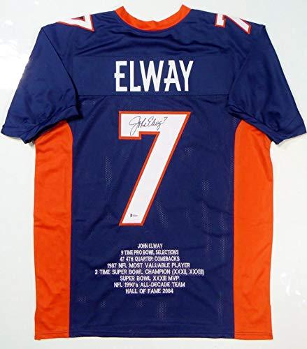 John Elway Autographed Blue Pro Style Stat 1 Jersey- Beckett Witnessed - John Autographed Elway Jersey