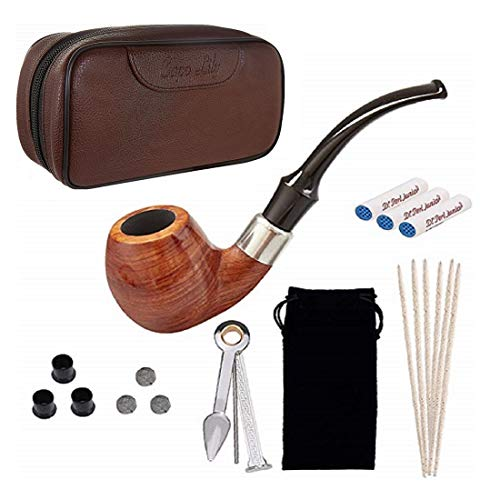 - Tobacco Pipe Set, Pear Wood Smoking Pipe and Brown Pipe Pouch Kit with Smoking Accessories by Capo Lily