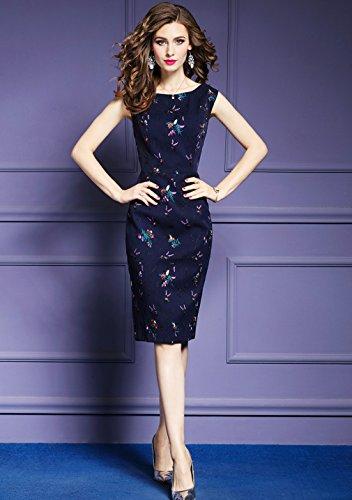 Embroidery Body Elegant Con cotyledon Dresses Dress Women`s Sleeveless qC4EwS