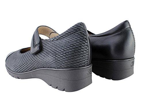 Komfort Damenlederschuh PieSanto 175963 Mary-Jane bequem breit Negro (Black)