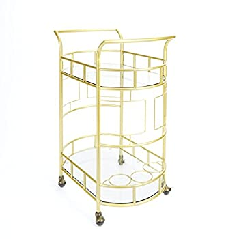 Image of Home and Kitchen Silverwood FS1133B-COM Sinclair 2-Tier Serving Cart 2, 17' L x 26.5' W x 34.5' H, Gold