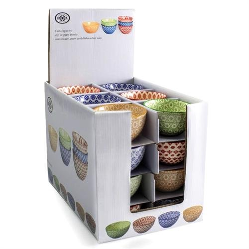 Bowls, Set of 6, Assorted Colors & Patterns - Stoneware (Bia Cordon Bleu Stoneware Bowls)