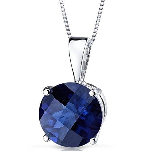 (14 Karat White Gold Round Cut 2.50 Carats Created Blue Sapphire)