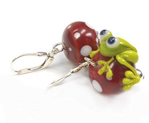handgefertigte Ohrringe aus Glas mit Frosch Brisur aus 925 Sterlingsilber