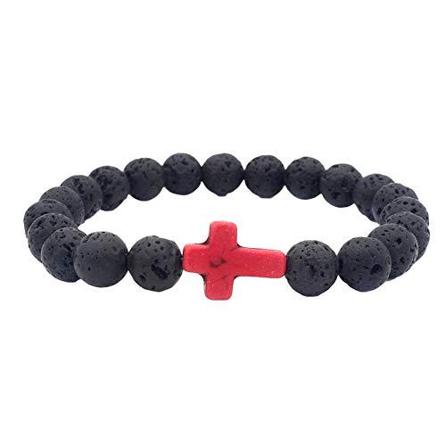 AzsfUfsa53 Natural Volcanic Stone Beaded Elastic Cuff Bangle-Religious Cross Bracelet Energy & Lucky Bangle Men Women Rose Red