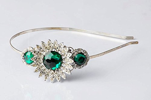Christmas Headband - Adult Headband - Vintage Jewelry - Emerald Wedding - Bridal Headband - Christmas Gift for Women