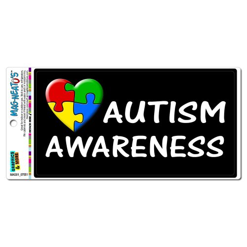 Autism Awareness - Puzzle Heart MAG-NEATO'S(TM) Automotive Car Refrigerator Locker Vinyl Magnet - Autism Puzzle Car Magnet