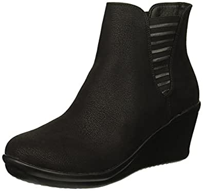 Skechers Womens 44791 Rumblers - Beam Me Up - Wedge Heeled Dressy Casual Striped Gore Chelsea Boot Black Size: 5