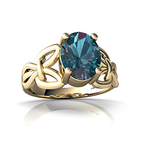 14kt Yellow Gold Lab Alexandrite 9x7mm Oval Celtic Knot Ring - Size 6.5