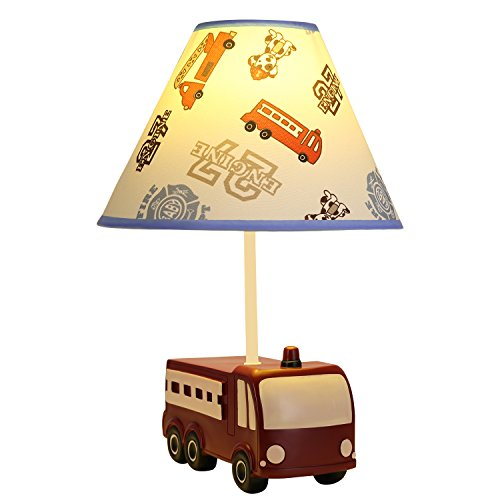 Fire Truck Table - Transportation Fire Truck, Yiiyaa Kids Table Lamp Handmade Nightstand Lamps Imagination Inspiring with Fabric Odorless Lampshade for Boy's Bedroom,Sturdy,Baby Room