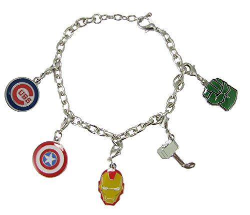 Chicago Cubs Marvel Avengers Silver Charm Bracelet Girls Womens Jewelry