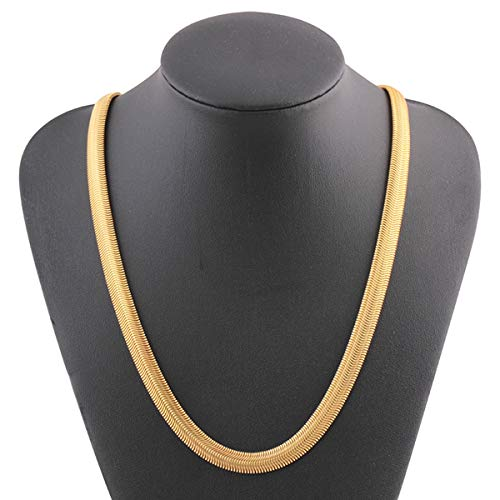 (2019 Fashion! Gold Necklace,Women Mens 18K Yellow Twist Bone Snake Chain 8mm 25 inch (Gold))