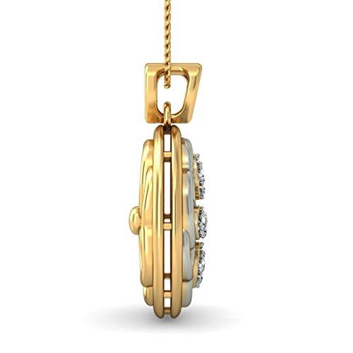 14K jaune Or 0,19CT TW Round-cut-diamond (IJ | SI) Pendentif