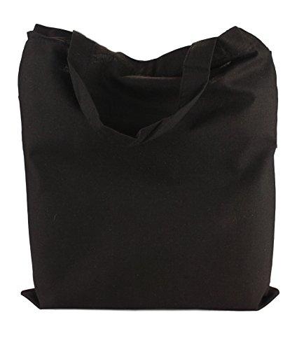 de Courtes Naturel 38x42cm Black en en Coton Pack 5 Sacs 2Store24 poignées 4qFw15n