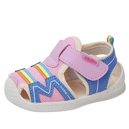 Athletic Mesh Walker - Baby Summer Sandals Mesh Rubbler Sole Outdoor Athletic Strap Breathable Closed-Toe for Boys Girls (21(Inside length-14cm)(24-27months), Pink)
