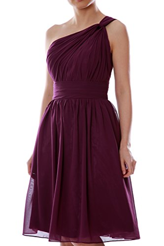 MACloth Gown Chiffon Bridesmaid Dress Cocktail Party Champagner Short Women One Shoulder wOqxWn1wrf