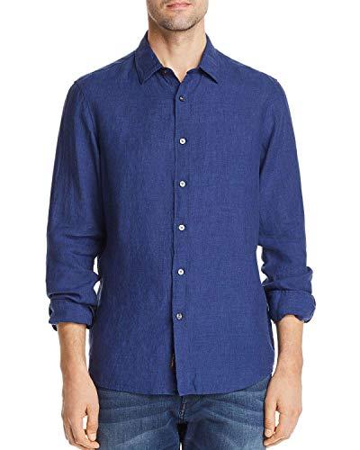 - Michael Kors Mens Regular Fit Button-Down Linen Shirt Large Midnight