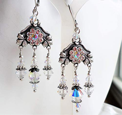Victorian Antique Silver Brass Swarovski Crystal Chandelier Earrings