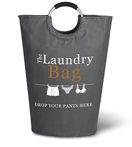 The Fine Living Company USA - Drop Your Pants Here Print- Laundry Hamper - Large Capacity Washing Basket - Collapsible Fabric Laundry Hamper - Perfect for College, Dorms, Travelling, Laundromat (Hampers Laundry Online)