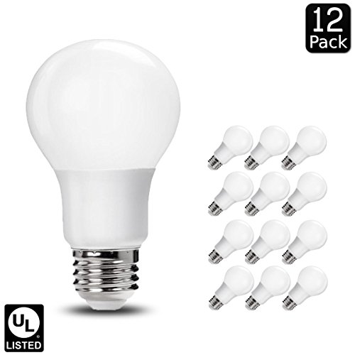 Linear Clear Incandescent Light Bulb (Luxrite LR21394 (12-Pack) 9W LED A19 Light Bulb, 60W Equivalent, Non-Dimmable, Bright White 5000K, E26 Base, UL-Listed)