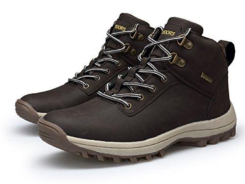 39 Piel Negro de Rioneo Senderismo Nieve sin Botas Sneakers Marrón Forro 46 Impermeables Marrón Zapatos Trekking Khaki Deportes Hombre Forro fq7qvxZ