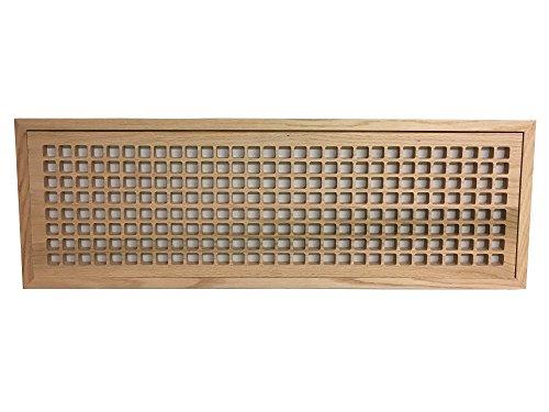 8 Inch x 30 Inch White Oak Hardwood Vent Floor Register Flush Mount with Frame, Eggcrate Style, Unfinished