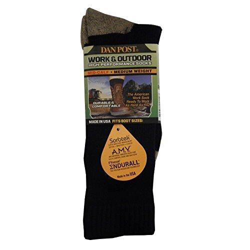 Dan Post Men's Black Mid Calf Medium Weight Work and Outdoor Socks -L, DWMB