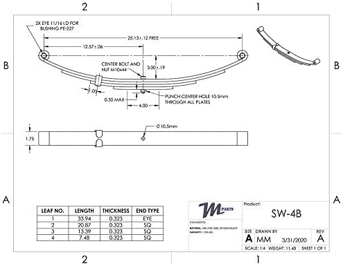 Trailers M-parts SW4B 25-1//4 Double Eye 4-Leaf Spring 1-3//4 Wide for 3,500 lbs 3.5K 1750 lb Capacity Per Spring